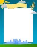 Vector City Skyline and Sunny Day Frame Royalty Free Stock Photo