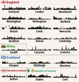 Vector city skylines of British Isles countries. England, Scotland, Wales, Northern Ireland and Republic of Ireland Royalty Free Stock Photos