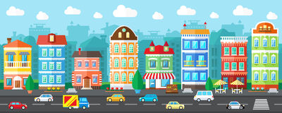 Vector City Street in a Flat Design Stock Image