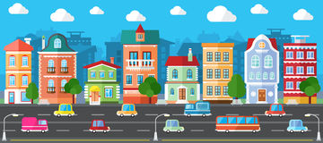 Vector City Street in a Flat Design. And Set of Urban Buildings Stock Photos