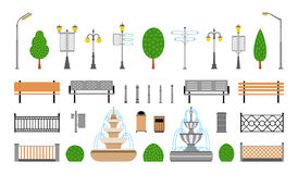 Vector City, Street, Park and Outdoor Elements Icons Set Royalty Free Stock Photography