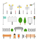 Vector City, Street, Park and Outdoor Elements Icons Set Royalty Free Stock Images