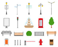 Vector City, Street, Park and Outdoor Elements Icons Set Stock Image