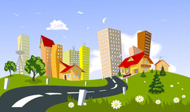 Vector city - summer Royalty Free Stock Photography