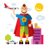 Vector City Superhero. Flat style colorful Cartoon illustration. Royalty Free Stock Photos