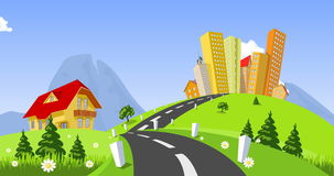 Vector city surrounded by nature landscape. Animation stock video
