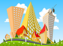 Vector city surrounded by nature landscape Stock Photo