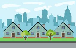 Vector city with three cartoon houses and green trees in the sunny day. Summer urban landscape. Street view with cityscape on a background Royalty Free Stock Photography