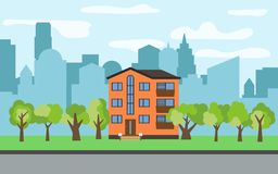 Vector city with three-story cartoon house and green trees in the sunny day. Summer urban landscape. Street view with cityscape on a background Royalty Free Stock Photos