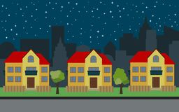 Vector city with three two-story cartoon houses and green trees at night. Summer urban landscape. Street view with cityscape on a background Stock Photos