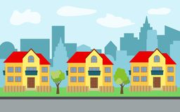Vector city with three two-story cartoon houses and green trees in the sunny day. Summer urban landscape. Street view with cityscape on a background Royalty Free Stock Image