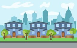 Vector city with three two-story cartoon houses and green trees in the sunny day. Summer urban landscape. Street view with cityscape on a background Royalty Free Stock Photo