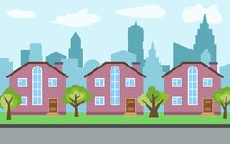 Vector city with three two-story cartoon houses and green trees in the sunny day. Summer urban landscape. Street view with cityscape on a background Royalty Free Stock Photos
