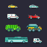 Vector city transport set in flat style.Town municipal different special,emergency service cars,trucks icons collection. Royalty Free Stock Photos
