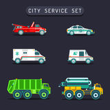 Vector city transport set in flat style.Town municipal different special,emergency service cars,trucks icons collection. Royalty Free Stock Image