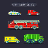 Vector city transport set in flat style.Town municipal different special,emergency service cars,trucks icons collection. Stock Photos