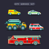 Vector city transport set in flat style.Town municipal different special,emergency service cars,trucks icons collection. Royalty Free Stock Images