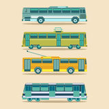 Vector city transport set in flat style. Urban vehicles infographics. Different municipal tram, trolleybus etc icons. Stock Photo