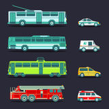Vector city transport set in flat style. Urban vehicles infographics. Different municipal tram, trolleybus etc icons. Royalty Free Stock Photo