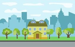 Vector city with two-story cartoon houses and green trees in the sunny day. Summer urban landscape. Street view with cityscape on a background Royalty Free Stock Images