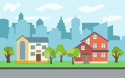 Vector city with two-story and three-story cartoon houses and green trees in the sunny day. Summer urban landscape. Street view with cityscape on a background Royalty Free Stock Image