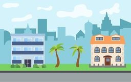 Vector city with two-story and three-story cartoon houses. And palm trees in the sunny day. Summer urban landscape. Street view with cityscape on a background Royalty Free Stock Photography