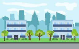 Vector city with two three-story cartoon houses and green trees in the sunny day. Summer urban landscape. Street view with cityscape on a background Stock Image