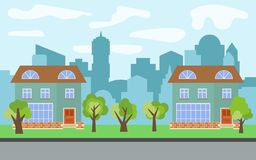 Vector city with two two-story cartoon houses and green trees in the sunny day. Summer urban landscape. Street view with cityscape on a background Royalty Free Stock Images