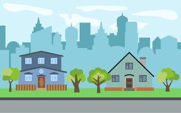 Vector city with two two-story cartoon houses and green trees in the sunny day. Summer urban landscape. Street view with cityscape on a background Royalty Free Stock Image