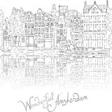 Vector city view of Amsterdam canal Stock Images