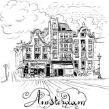 Vector city view of Amsterdam canal Stock Photography