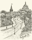 Vector cityscape. Church and Castle on Andrew Descent in Kiev. Vector monochrome sketch of the urban landscape of the old street. St. Andrews Church and the Stock Photo