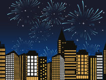 Vector cityscape fireworks Royalty Free Stock Images
