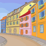 Vector cityscape of old European city Royalty Free Stock Images