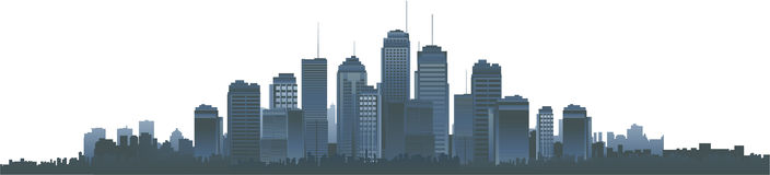 Vector cityscape silhouette. City background, business buildings Stock Photography