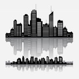 Vector cityscape skyline buildings with reflection. Big cities skyline buildings with reflection Stock Images