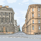 Vector Cityscape, the wide avenue in the city center. Urban landscape, the wide avenue in the city center, St. Petersburg, Russia Royalty Free Stock Image
