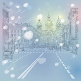 Vector Cityscape, the wide avenue with views of th Royalty Free Stock Photo