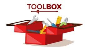 Vector clásico rojo de la caja de herramientas Por completo del equipo Ejemplo plano de la historieta libre illustration