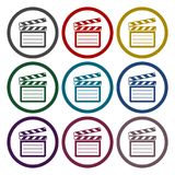 Vector clap board icons set. Vector icon Royalty Free Stock Photography