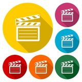 Vector clap board icons set with long shadow. Vector icon Stock Photography