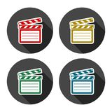 Vector clap board icons set with long shadow. Vector icon Royalty Free Stock Photo