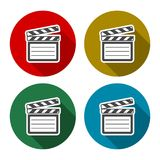 Vector clap board icons set with long shadow. Vector icon Stock Images