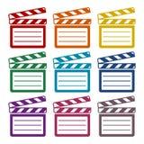 Vector clap board sticker set. Vector icon Royalty Free Stock Photos