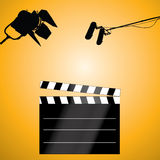 Vector clapboard. Clapboard with a microphone and light Stock Images