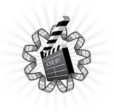 Vector clapboard and film strip Royalty Free Stock Images
