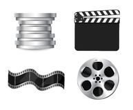 Vector  clapperboard. With waving film Stock Image