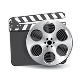 Vector  clapperboard. With waving film Royalty Free Stock Images