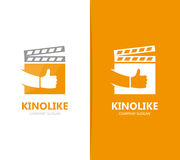 Vector of clapperboard and like logo combination. Cinema and best symbol or icon. Unique video and film logotype design. Vector logo or icon design element for Royalty Free Stock Photos