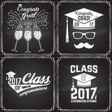 Vector Class of 2017 badge. Vector Class of 2017 badge on the chalkboard. Concept for shirt, print, seal, overlay or stamp, greeting, invitation card Royalty Free Stock Photos